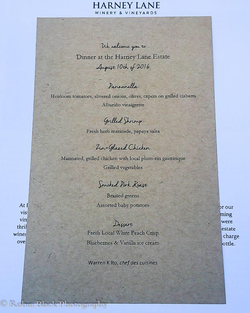 Harney Lane (delicious) Dinner Menu